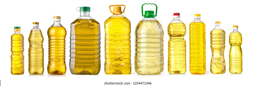 oil bottle isolated on white with clipping path