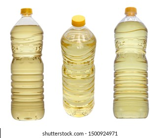 Oil bottles on white background