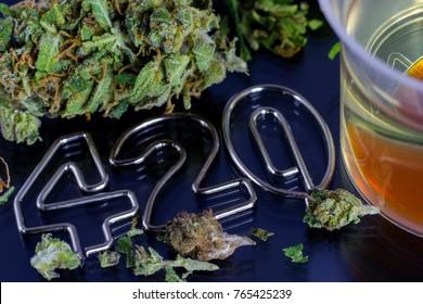 Oil Cannabis - medical marijuana, dry leaf, bud and 420 digits.