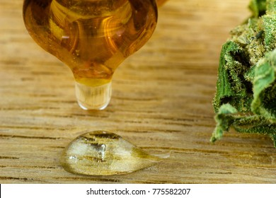 Oil Cannabis - Medical marijuana and resin oil in apothecary