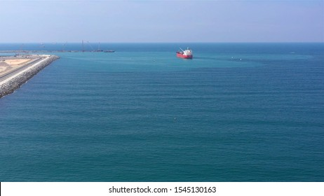 Oil Chemical Tanker Tied with strings Close to port Aerial Image Drone view Close to sea level of oil Chemical Tanker Tied with strings Close to port Aerial Footage, Ashdod Israel