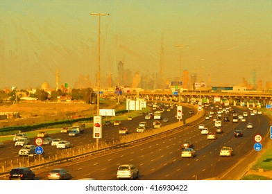 Oil Color Painting of dubai road