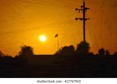 Oil Color Painting of Sunrise