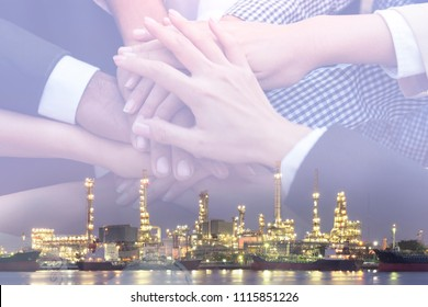 Oil company handshake and make a deal to work as a team.During the meeting, the new project. Refinery business is a big business that requires cooperation from parties. Teamwork will help you succeed
