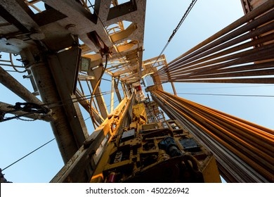 Oil derrick. View from the drilling floor.