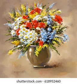 Oil digital paintings, still life, flowers