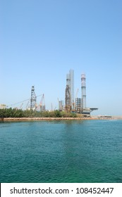 Oil drilling site at the shore, Sharjah, UAE