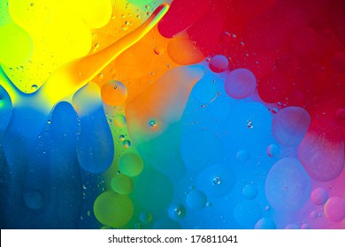 Oil drops on the water surface, abstract art