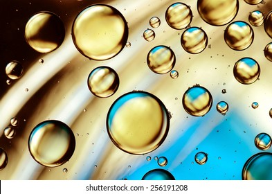 oil drops on the water surface