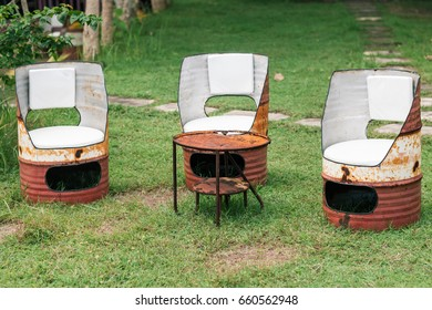 Oil drum furniture. Hand made barrels decorate for chairs