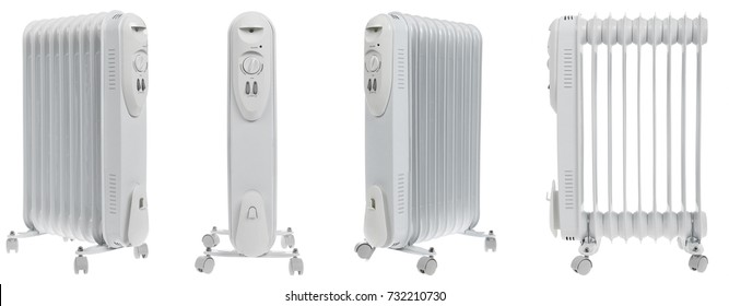 Oil electric radiator heater on white background