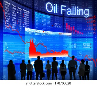 Oil Falling Crisis with Business People