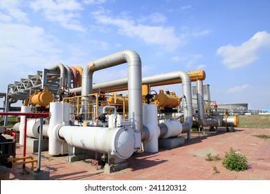 Oil field scene, oilfield equipment at work