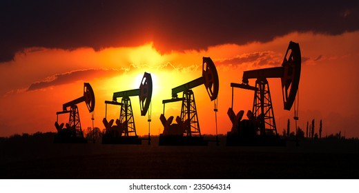 Oil field at sunset.