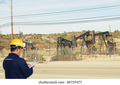 oil field worker on oil field