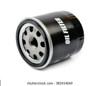 Oil Filter isolated on White Background.Automobile spare part