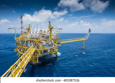 Oil and Gas central processing platform at top view in the gulf of Thailand in strong wind and high wave