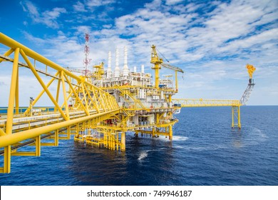 Oil and Gas central processing platform in the gulf of Thailand produced natural gas and liquid condensate for set to onshore refinery, petrochemical and power generation plant.
