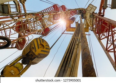 Oil and Gas Drilling Rig onshore dessert with dramatic cloudscape. Oil drilling rig operation on the oil platform in oil and gas industry. Land drilling rig blue sky