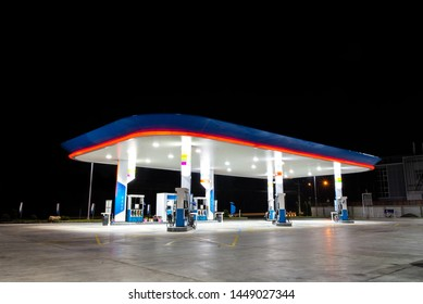 Oil and Gas fuel station on night open beautiful lighting