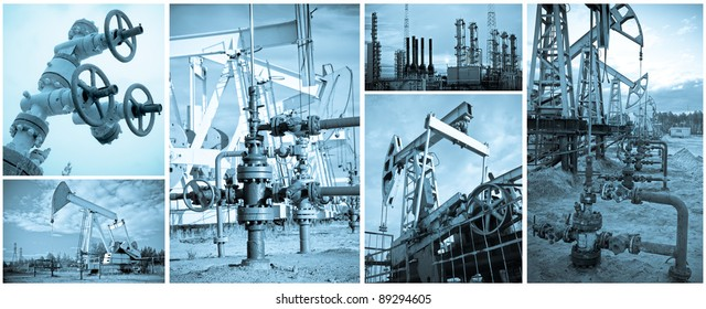 Oil and gas industry. Extraction of oil. Monochrome, toned blue.