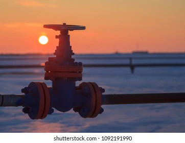 Oil, gas industry. Group wellheads and valve armature