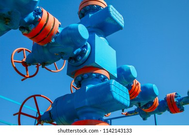 Oil, gas industry. Group wellheads and valve armature , Gas valve, Gas well of high pressure
