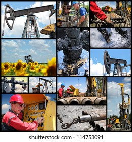 Oil And Gas Industry. Industrial collage showing workers at work on oil and gas exploration and production.