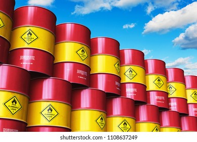 Oil and gas industry manufacturing and trading business concept: 3D render of the industrial storage warehouse with the group of stacked rows of red metal oil drums or petroleum barrels against sky