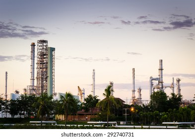 Oil and gas industry - refinery at evening - factory - petrochemical plant