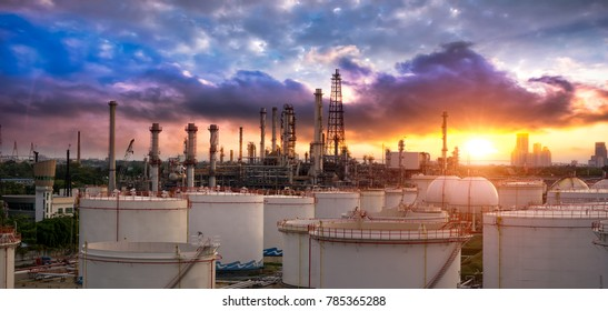 Oil and gas industry - refinery factory - petrochemical plant at sunset