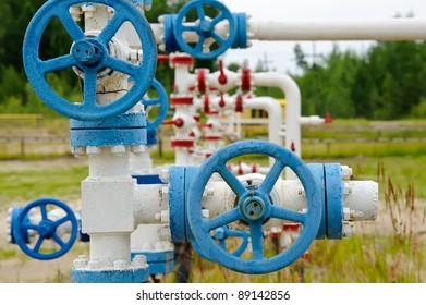 Oil, gas industry. Wellhead with valve armature.