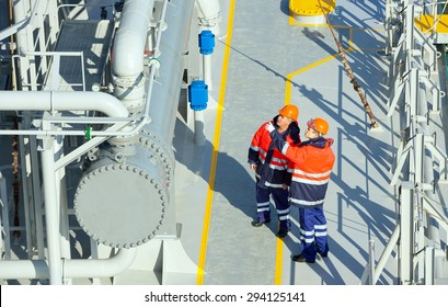 Oil And Gas Industry. Work on the gas tanker safety monitor. industrial
