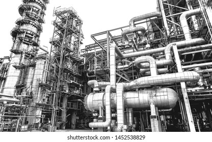 Oil and gas industry,refinery factory,petrochemical plant area at white background.