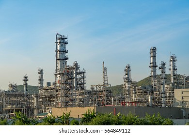 Oil and gas industry,refinery factory,petrochemical plant area at Sunset with blue sky