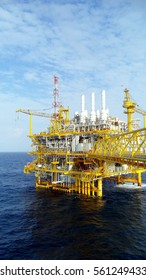 Oil and gas platform in the gulf or the sea, The world energy, Offshore oil and rig construction.