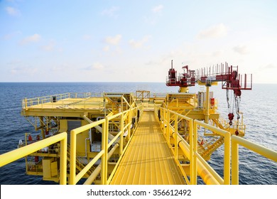 Oil and gas process platform. Remote platform for production oil and gas, Construction in offshore.