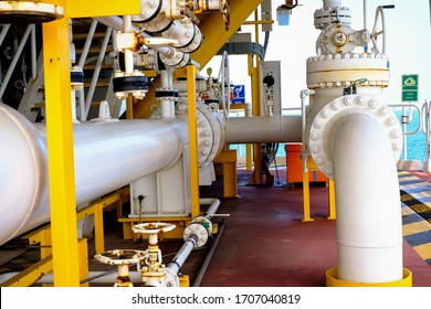 Oil and gas processing plant with pipe line valves.Steel pipelines and valves.Oil pipeline valves in the oil and gas industry.