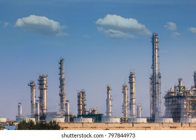 Oil and gas refinery industrial plant.
