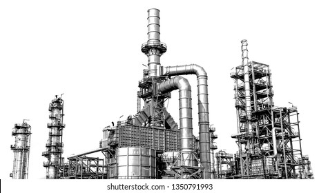 Oil and gas refinery in large petrochemical industrial estates used for energy and petroleum industry, Isolated on white background-image
