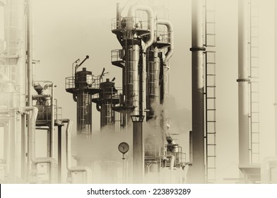 oil and gas refinery in old vintage style of photography