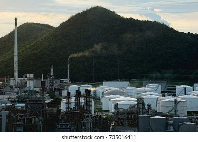 oil gas refinery plant in sunset time.