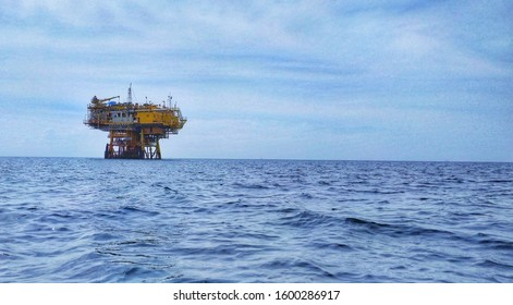Oil and Gas Rig at Sea of Bontang, Indonesia