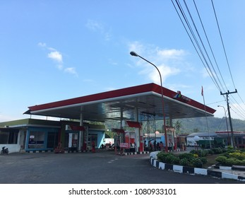 Oil and gas station Pertamina on the high way rest area. Yogyakarta Indonesia. May 01, 2018.