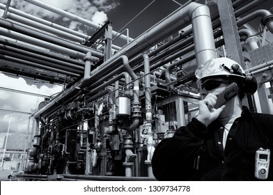 oil and gas worker inside refinery, selenium toning idea