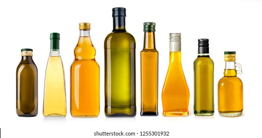 oil glass olive bottle isolated on white background