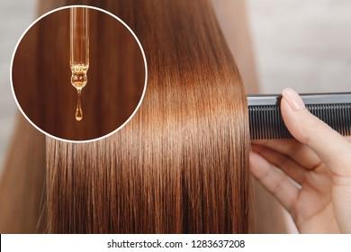 Oil hair treatment for woman. Concept hairdresser spa salon.