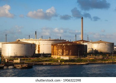 Oil harbor. Refinery and oil storage on the shore of the Gulf of Curacao, Dutch Antilles.