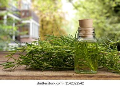 Oil hemp products on wood table