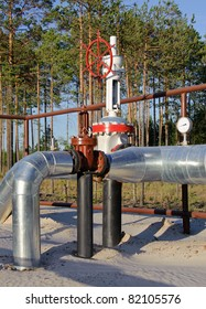 Oil Industry. Gas pipeline with a red gate. Western Siberia, Russia.